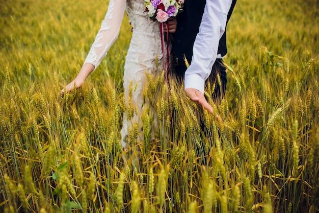 Paarbruid en bruidegom op gebiedsachtergrond.