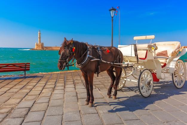 Paard en wagen, oude haven, chania, kreta, griekenland