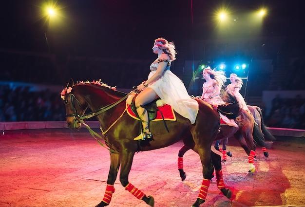 Paarden in het circus. speech paarden met trainers op het podium van het circus.