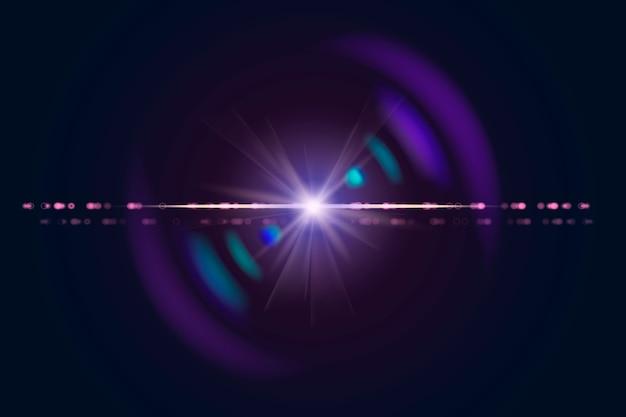 Paars anamorf lensflare-ontwerpelement