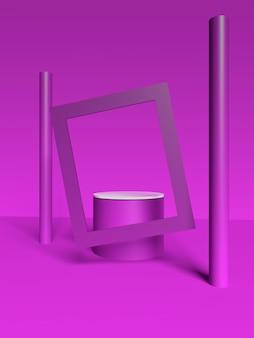 Paars frame en balscène met geometrische vormen in 3d-rendering premium
