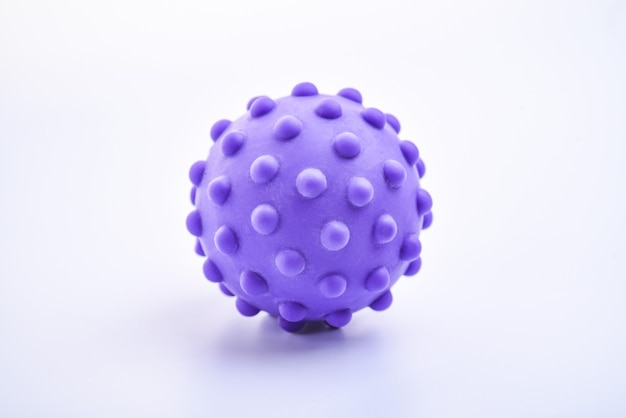 Paars kleurrijk helder geïsoleerd stekelig balstuk speelgoed, macro