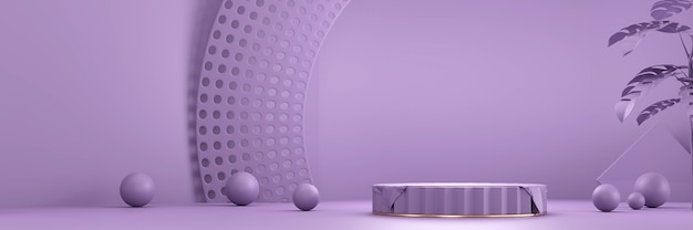 Paars product stage podium platform voor product huidige achtergrond 3d-rendering