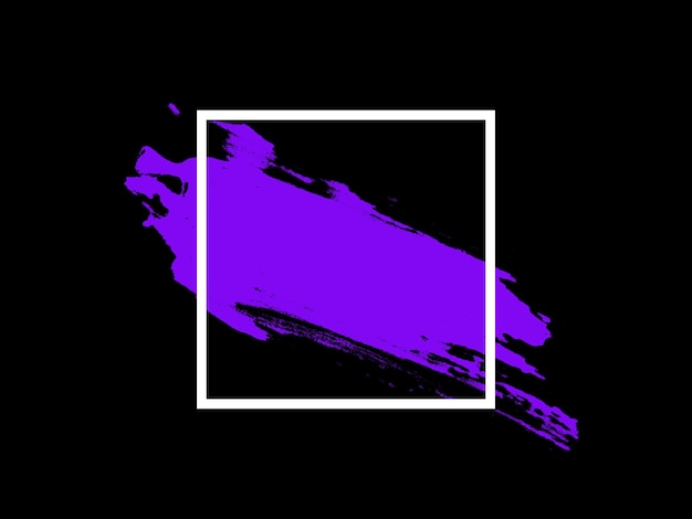 Paarse accenten in een wit vierkant geïsoleerd tegen een zwarte achtergrond. illustratie van hoge kwaliteit