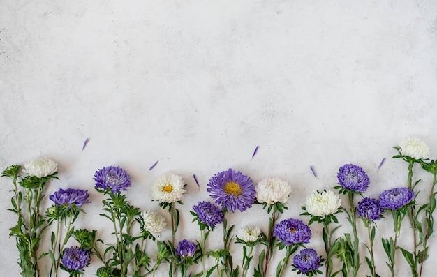 Paarse bloemen met bloemblaadjes