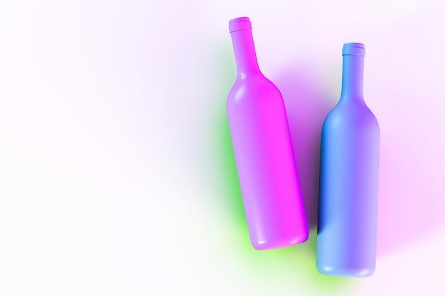 Paarse en blauwe wijnflessen op een lichte achtergrond. uitzicht van boven.
