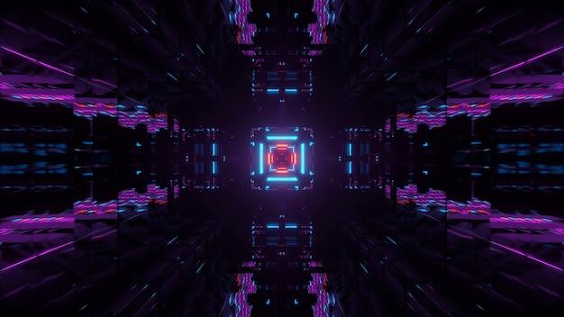 Paarse en zwarte futuristische azteekse abstracte achtergrond met vierkanten en neonlichten