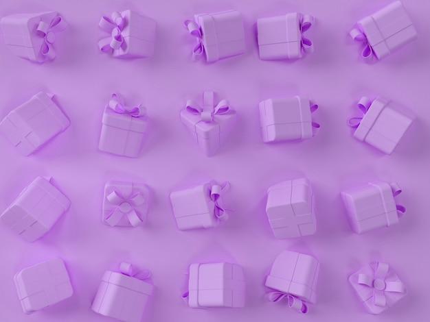 Paarse geschenkdoos scène