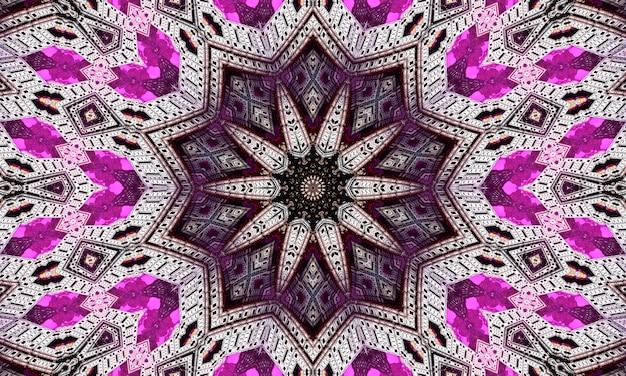 Paarse herhalende bloem sierlijke mandala patroon achtergrond - abstracte symmetrische ornament behang afbeelding.