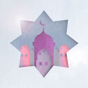 Paarse islamitische toren