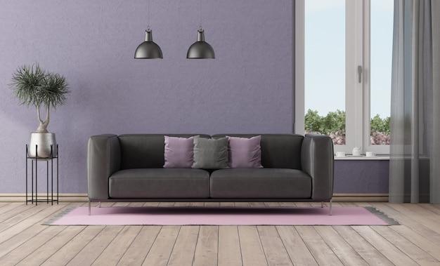 Paarse kamer met zwart lederen bank en groot raam - 3d-rendering