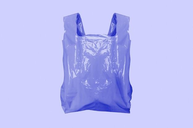 Paarse plastic boodschappentas