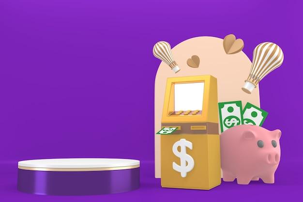 Paarse podium cartoon zakelijke stijl op paarse background.3d rendering