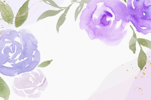 Paarse roos frame achtergrond lente aquarel illustratie