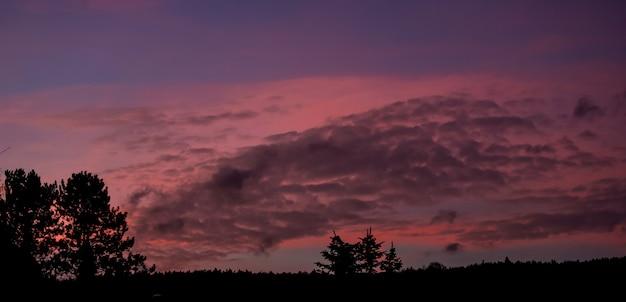 Paarse zonsondergang met veel wolken en bomen in de landschappen van oostenrijk.