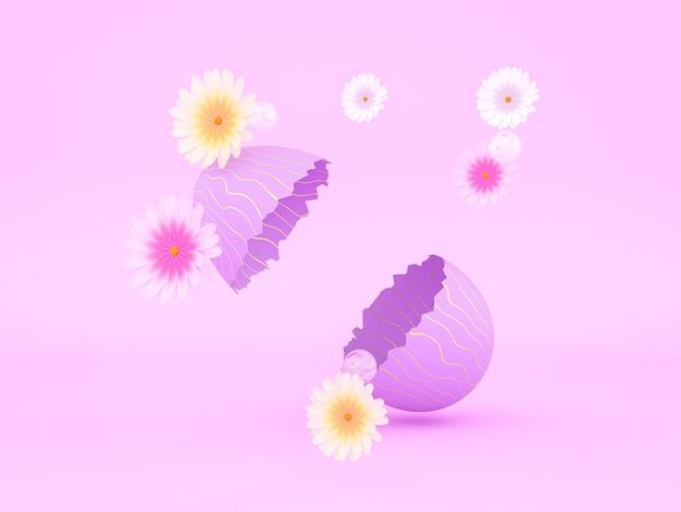Paasei gebarsten met lentebloemen en kopieer ruimte 3d-rendering