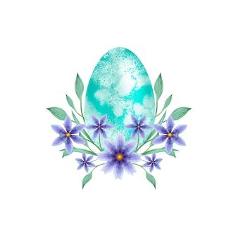 Paasei in aquarel bloemen illustratie