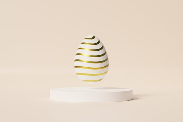 Paasei met gouden strepenpatroon op wit podium, beige muur, de vakantiekaart van april van de lente, 3d illustratie geeft terug