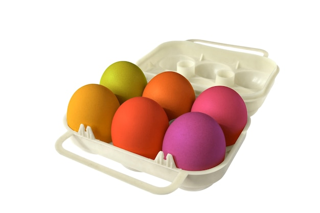 Paaseierdoos met zes gekleurde eieren