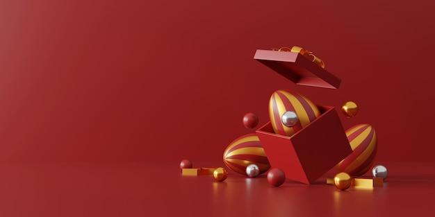 Paaseieren en geschenkdoos op rood
