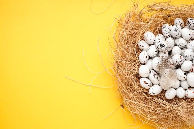 Paaseieren in een nest op geel a