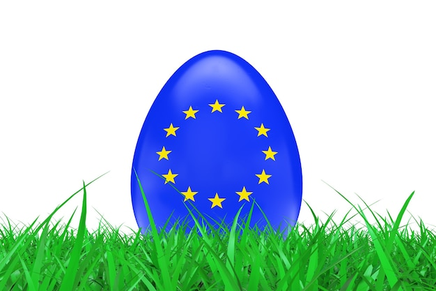 Paaseieren met vlag van de europese unie in groen gras op een witte achtergrond. 3d-rendering.