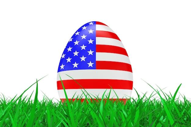Paaseieren met vlag van de vs in groen gras op een witte achtergrond. 3d-rendering.