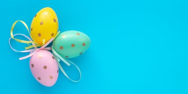 Paaseieren op een blauwe achtergrond, gift card met kopie ruimte. kleurrijk paschaal ei.