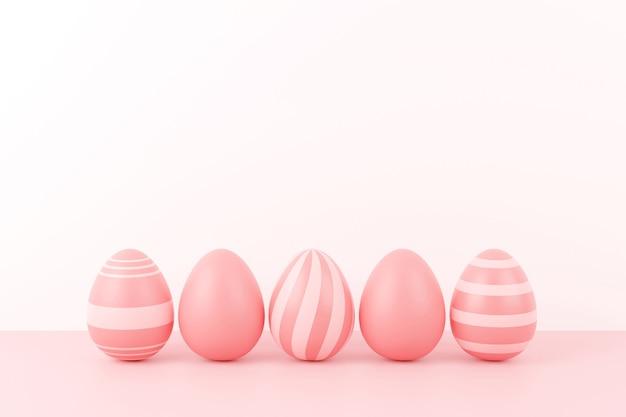 Paaseieren op roze in 3d-rendering
