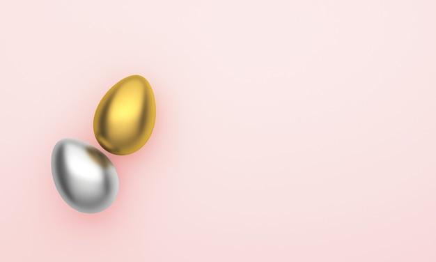 Paaseieren van gouden en zilveren kleuren met op een roze achtergrond.