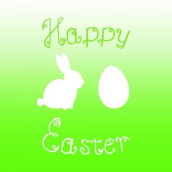 Paashaas konijn ei jacht limoen groene gradiënt achtergrond. helder groene happy easter sjabloon ontwerp hand getekende illustratie. wenskaart met konijn konijntje, ei en tekst