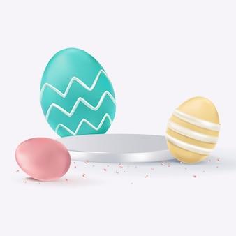 Paasproduct 3d-achtergrond met kleurrijke beschilderde eieren