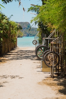 Pad gaat naar prachtige idyllische strand