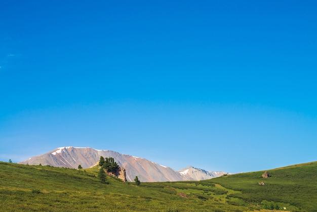 Pad naar reuzengebergte met sneeuw over groene vallei onder heldere blauwe hemel