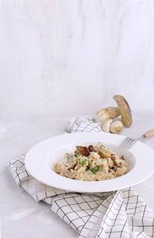 Paddestoelrisotto traditionele italiaanse porcinorijst schotel witte achtergrond
