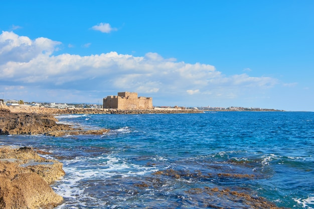 Pafos harbour castle in cyprus
