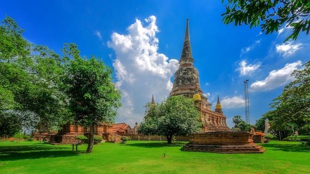 Pagode in wat yai chaimongkol of wat yai chai mongkhon, tempel in ayutthaya historical park, ayutthaya, thailand.