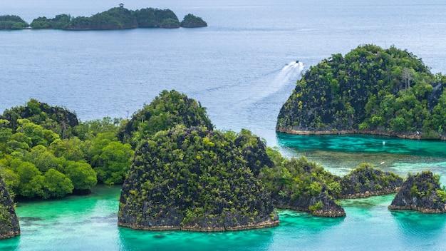 Painemo island, blue lagoon, raja ampat, west papoea, indonesië