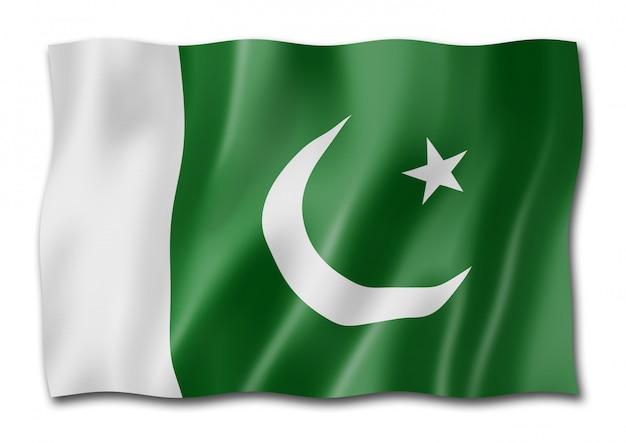 Pakistaanse vlag die op wit wordt geïsoleerd