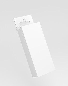 Pakket lege witte euro slot hanger box voor pegboard-mockup 3d render