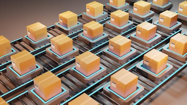 Pakket verzending. automatisch logistiek beheer, 3d-rendering