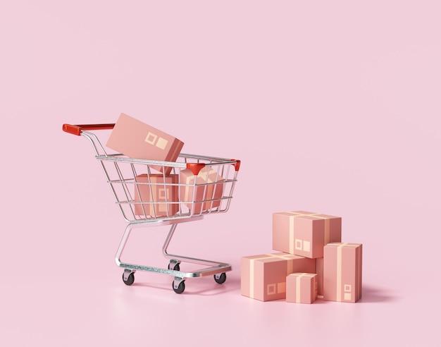 Pakketpakket in een karretje op roze achtergrond. ideeën over online winkelen