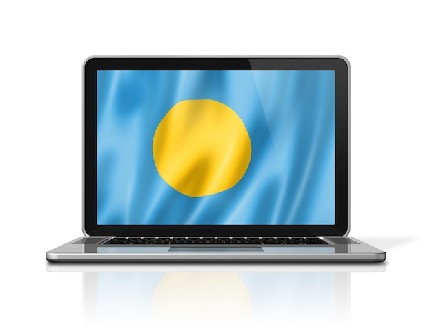 Palau vlag op laptop scherm geïsoleerd op wit. 3d illustratie geeft terug.