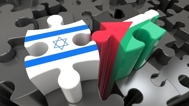 Palestina en israël vlaggen op puzzelstukjes. politiek relatieconcept. 3d-rendering