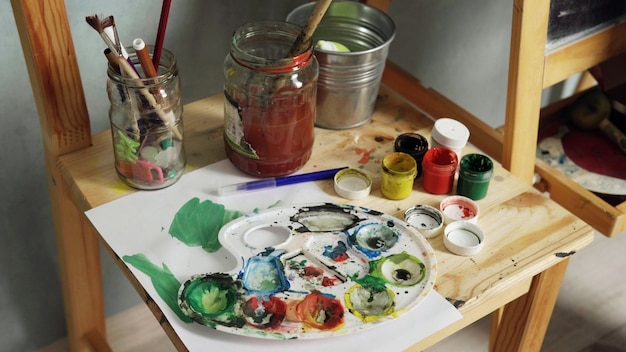 Palet, aquarellen en penselen