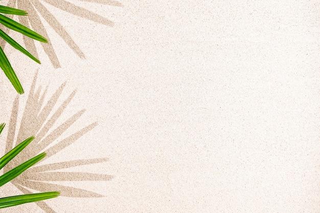 Palmbladschaduw op zand, bovenaanzicht, kopie ruimte