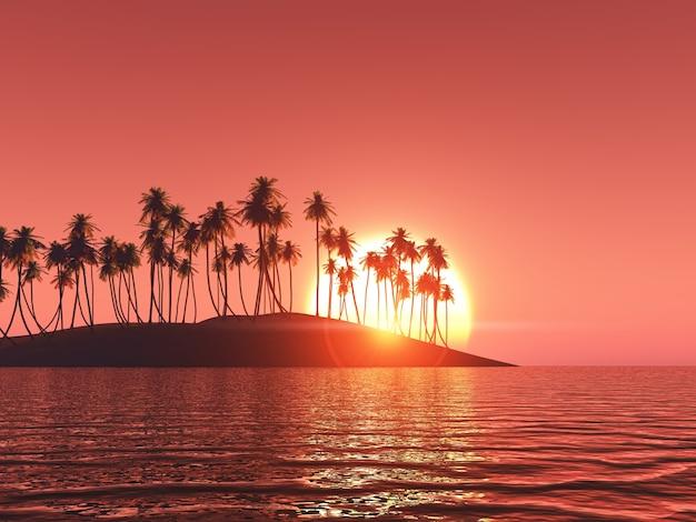 Palmboom in een isle