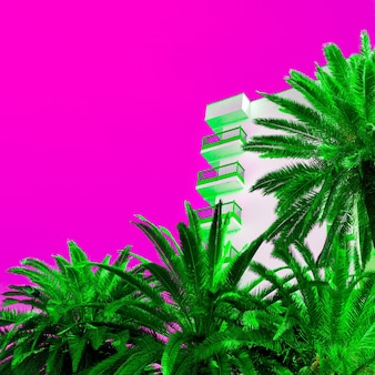 Palmen en hotel. kunst minimaal kleurontwerp