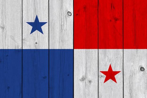 Panama vlag geschilderd op oude houten plank