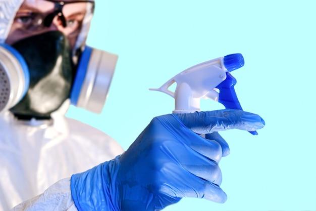 Pandemische desinfectie van gebouwen. pictogram voor conceptontwerp. quarantaine, corona pandemie concept. virus bescherming.